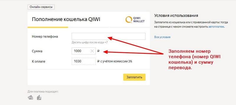 Яндекс Деньги - Пополнение КИВИ кошелька