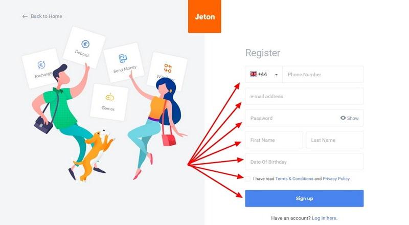 Регистрация в Jeton Wallet