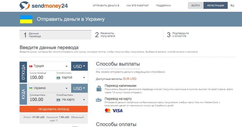 SendMoney24 перевод денег из Турции в Украину