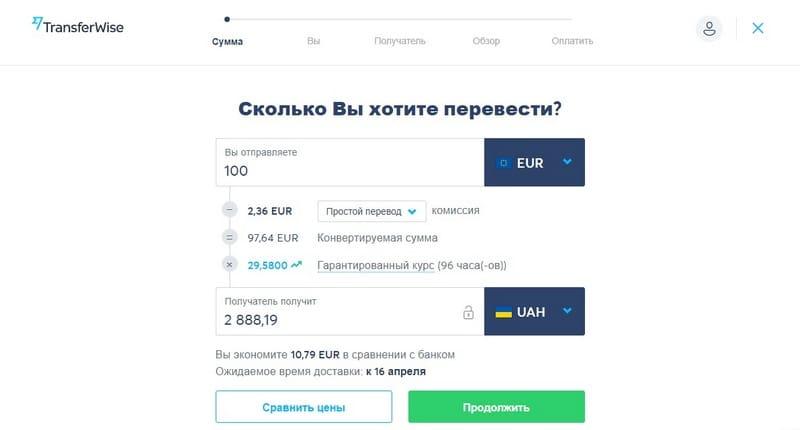 TransferWise перевод денег из Турции в Украину