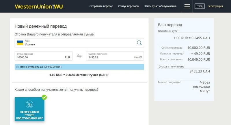 Western Union перевод денег онлайн