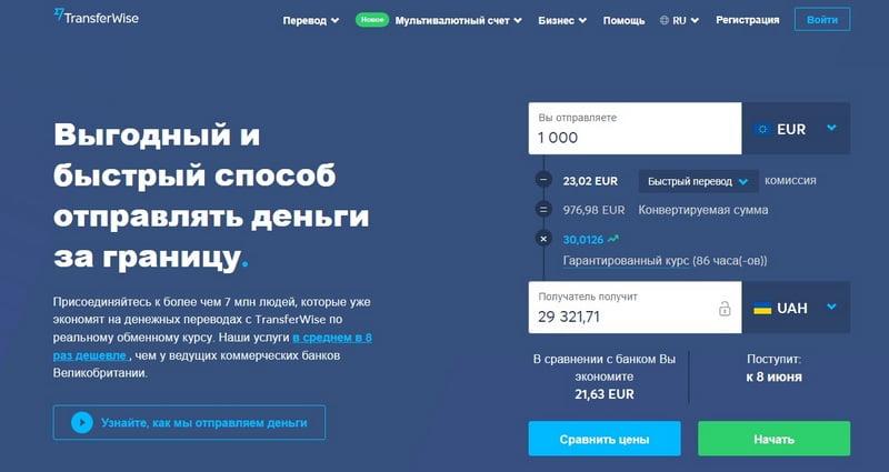 TransferWise перевод Румыния Украина