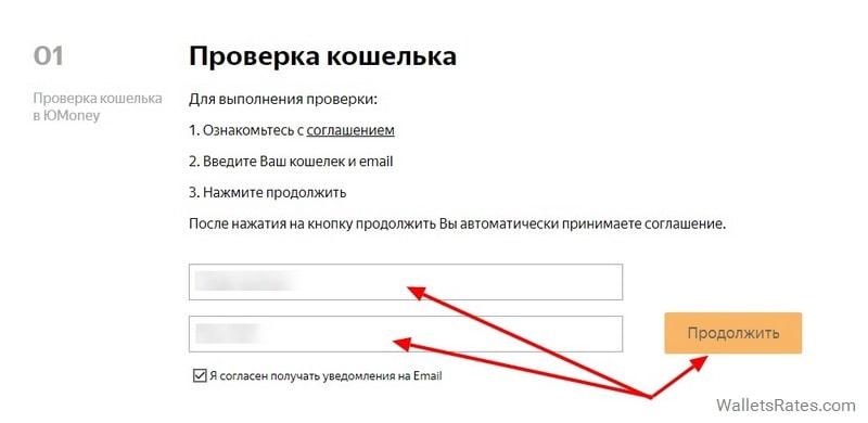 Ввод кошелька Юmoney и Email