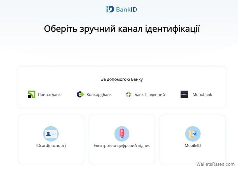 Выбор банка для идентификации