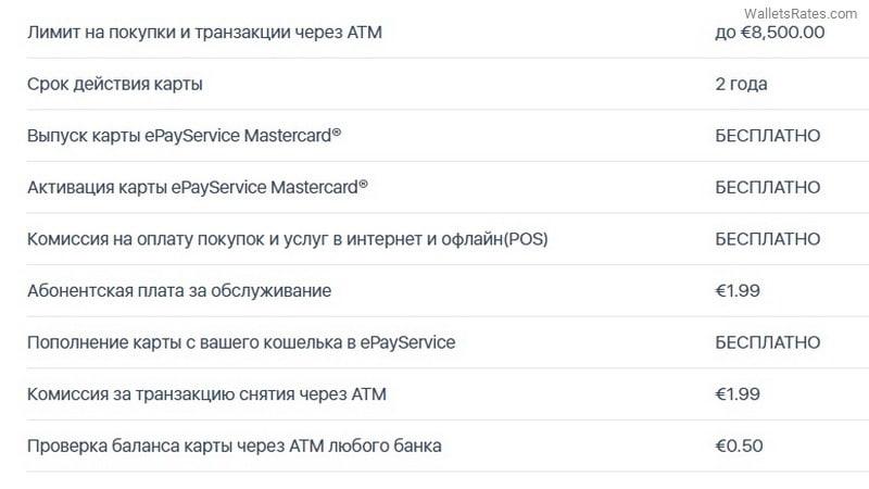 Тарифы карты Mastercard ePayService
