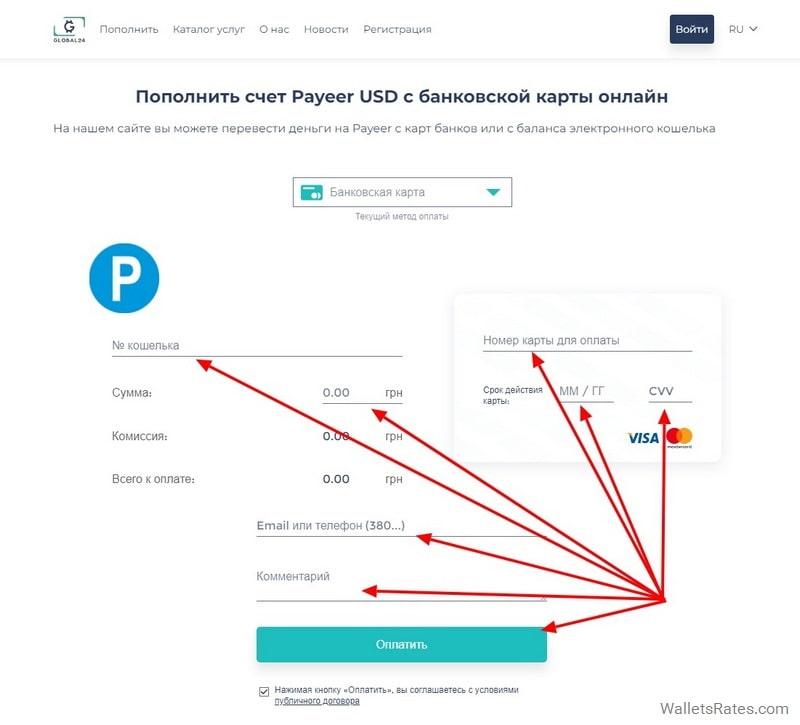 Пополнение Payeer USD через Global24 банковской картой