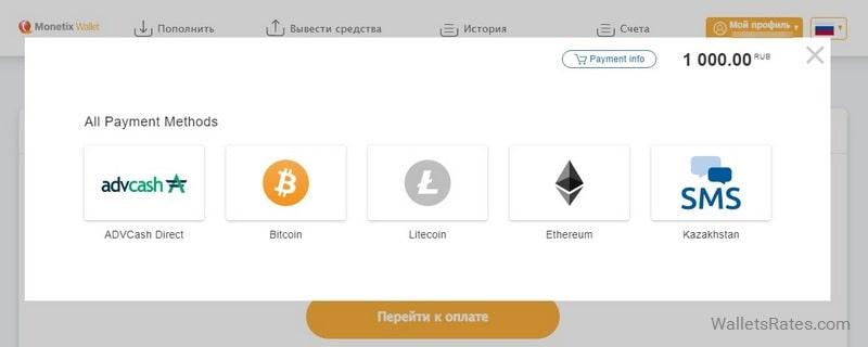 Способы пополнения Monetix Wallet