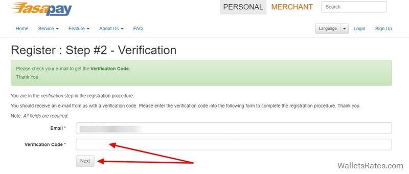 FasaPay Email верификация