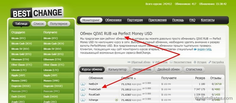 Bestchange обмен QIWI RUB на Perfect Money USD