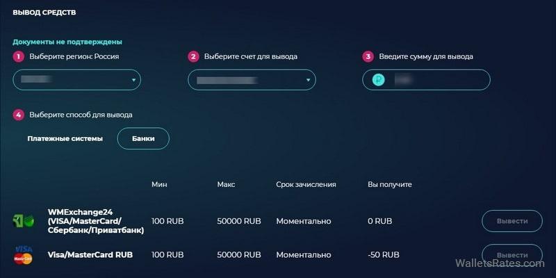 Вывод средств с кошелька MoneyGo